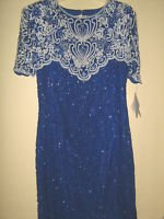 New Silk Cocktail Dress 100% Silk Royal Blue L Sequin Bead ~NWT Swee Lo Fancy