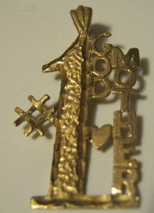"14kt Yellow Solid Gold Charm Displays #1 Godmother~Pendant~1.5""x .75""~Grams 1.91"