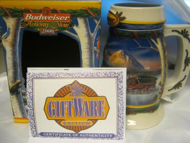 New Budweiser 2000 Collectible Beer Stein Mug in Box Holiday in Mountains Great Gift!