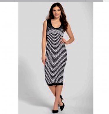 New Nicole Miller Medium Bodycon Knit Stretch Long Black & White Dress NWT Retail $295