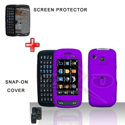 Purple Cover Case Hard Case Snap on Protector + LCD Screen Cover for Samsung Impression A877