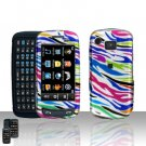 Rainbow Zebra Cover Case Snap on Protector + LCD Screen Cover for Samsung Impression A877
