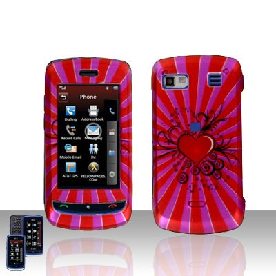 LG Xenon GR 500  Red Heart Cover Case Hard Case Snap on Protector + LCD Screen Cover +Car Charger