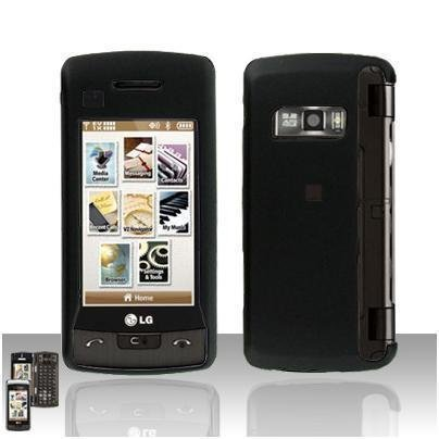 Black Cover Case Rubberized  Snap on Protector + LCD Screen Guard for LG enV TOUCH VX11000