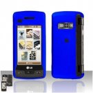 Blue Cover Case Rubberized  Snap on Protector + LCD Screen Guard for LG enV TOUCH VX11000
