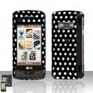 Polka Dot Rubberized Case Snap on Protector + LCD Screen Guard for LG enV TOUCH VX11000