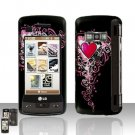 Heart Design Rubberized Case Snap on Protector for LG enV TOUCH VX11000