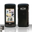Carbon Fiber Rubberized Case Snap on Protector + LCD Screen Guard for LG enV TOUCH VX11000