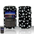 Blackberry Tour 9630 BB Black Star Rubberized Cover Case Snap on Protector + Car Charger