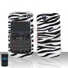 Blackberry Tour 9630 BB Black Zebra Rubberized Cover Case Snap on Protector + Car Charger