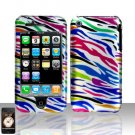Rainbow Zebra Rubberized Cover Case Snap on for Apple iPhone 3G iPhone 3GS