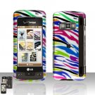 Rainbow Zebra Rubberized Case Cover Snap on Protector for LG enV TOUCH VX11000