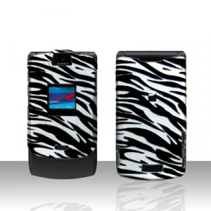 Motorola V3 Razr Zebra Cover case Rubberized Hard Case Snap on Protector