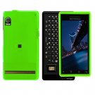 Neon Green Cover Case Snap on Protector + Car Charger for Motorola Droid A855