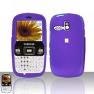 Purple Cover Case Snap on Protector + Car Charger for Samsung Freeform R350 R351