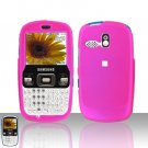 Pink Cover Case Snap on Protector + Car Charger for Samsung Freeform R350 R351