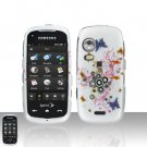 Butterfly Design Cover Case Snap on Protector + Car Charger for Samsung Instinct HD M850