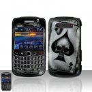 Blackberry Bold 9700 Onyx Spade Skull Cover Case Snap on Protector + LCD Screen Guard