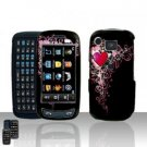 Hearts Cover Case Rubberized Snap on Protector + Car Charger for Samsung Impression A877
