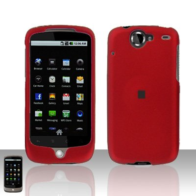 HTC Nexus One Red Case Cover Snap on Protector + Screen Guard