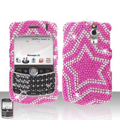 Blackberry Curve 8330 8300 Star Design  Full Diamond Case Snap on Cover