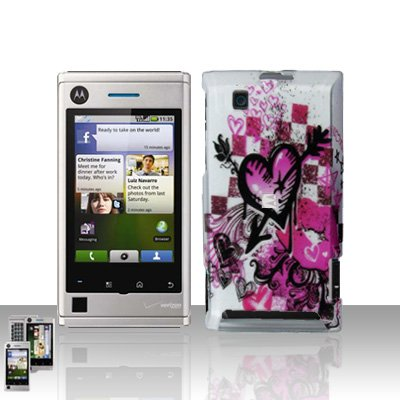 Arrow Heart Case Cover + LCD Screen Protector Guard for Motorola Devour A555
