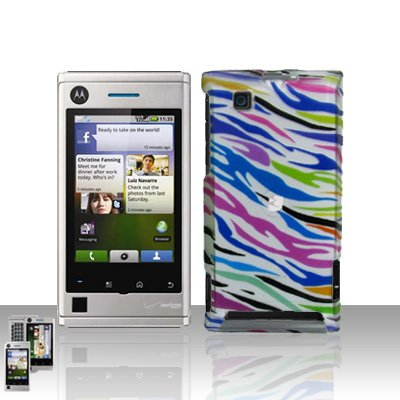 Rainbow Zebra Case Cover + LCD Screen Protector Guard for Motorola Devour A555
