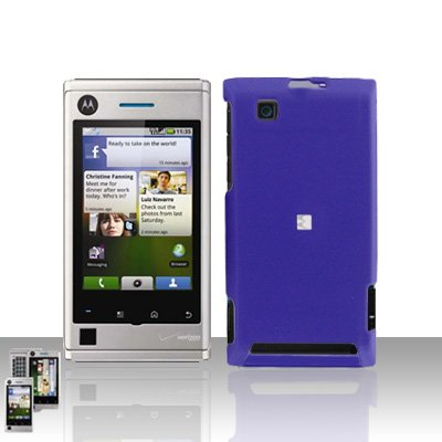 Purple Case Cover Snap on Protector + Car Charger for Motorola Devour A555