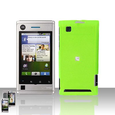 Neon Green Case Cover + LCD Screen Protector Guard for Motorola Devour A555