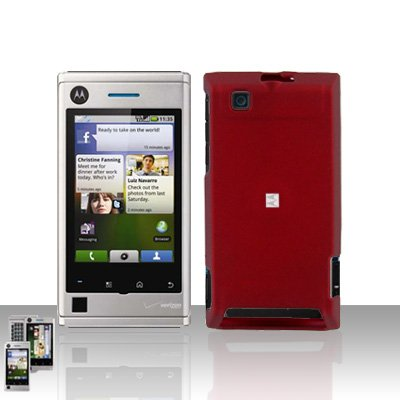 Red Case Cover + LCD Screen Protector Guard for Motorola Devour A555