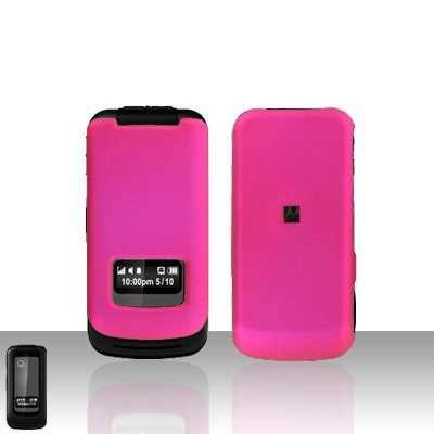Pink Case Cover Snap on Protector + Car Charger for Motorola i410