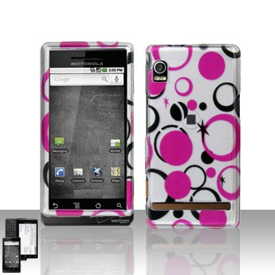 Pink Dots Cover Case Snap on Protector for Motorola Droid A855