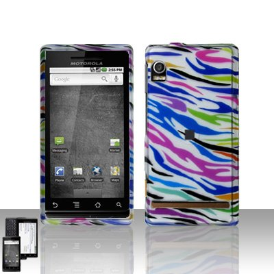 Rainbow Zebra Cover Case Snap on Protector for Motorola Droid A855