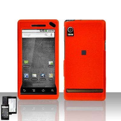 Orange Cover Case Snap on Protector + Car Charger for Motorola Droid A855