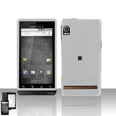 White Cover Case + LCD Screen Protector for Motorola Droid A855