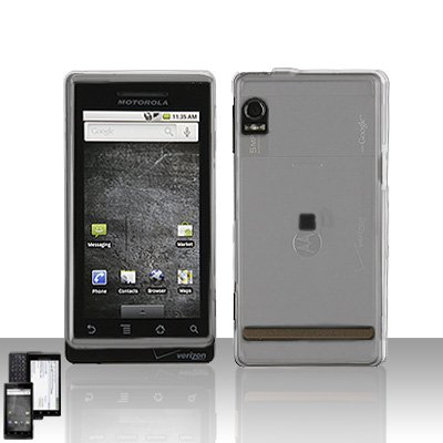 Clear Transparent Cover Case Snap on Protector + Car Charger for Motorola Droid A855