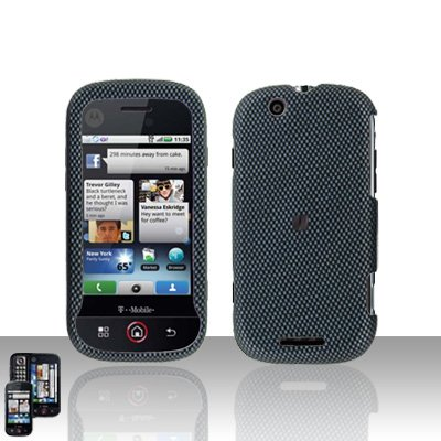 Carbon Fiber Cover Case Snap on Protector + Car Charger for Motorola Cliq MB200