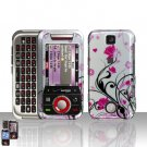 Pink Flowers Wines Cover Case Snap on Protector for Motorola Rival A455