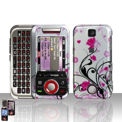Pink Wines Flowers Cover Case Snap on Protector + Car Charger for Motorola Rival A455