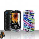 Rainbow Zebra Cover Case Snap on Protector + Car Charger for Samsung Moment M900