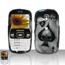 Spade Skull Cover Case Snap on Protector + Car Charger for Samsung Freeform R350 R351