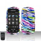 Rainbow Zebra Cover Case Snap on Protector + Car Charger for Samsung Instinct HD M850