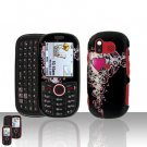 Pretty Heart Cover Case Snap on Protector + Car Charger for Samsung Intensity U450