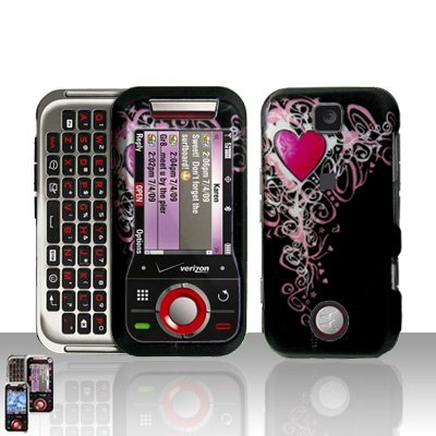 Heart Cover Case Snap on Protector + Car Charger for Motorola Rival A455