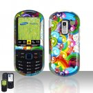 Rainbow Design Cover Case Snap on Protector for Samsung Exclaim 2 Restore M570
