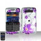 Blackberry Bold 9700 Onyx Purple Flowers Cover Case Snap on Protector + LCD Screen Guard