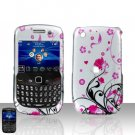 Blackberry Curve 8520 8530 Pink Flowers Cover Case Snap on Protector