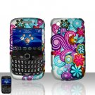 Blackberry Curve 8520 8530 Colorful Flowers Cover Case Snap on Protector