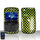 Blackberry Curve 8520 8530 Green Checkered Cover Case Snap on Protector