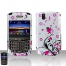 Blackberry Tour 9630 Pink Flowers Cover Case Snap on Protector
